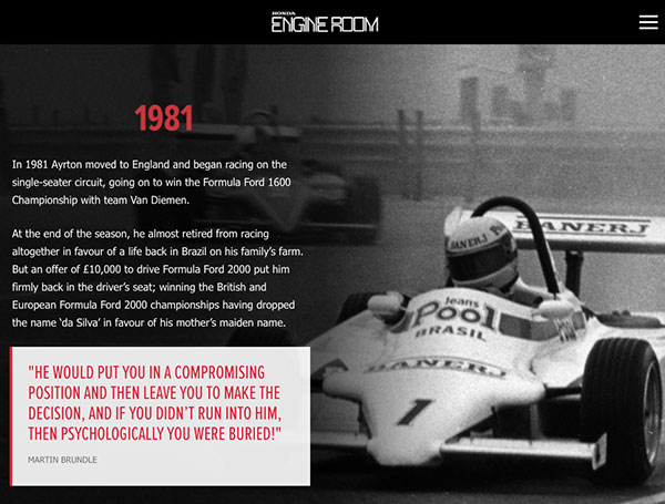 Background Scrollmation section from HONDA LEGENDS: AYRTON SENNA, by Honda UK