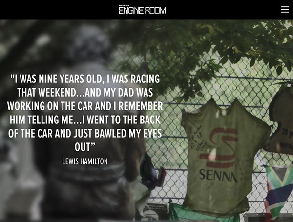 Text Over Media section from HONDA LEGENDS: AYRTON SENNA, by Honda UK