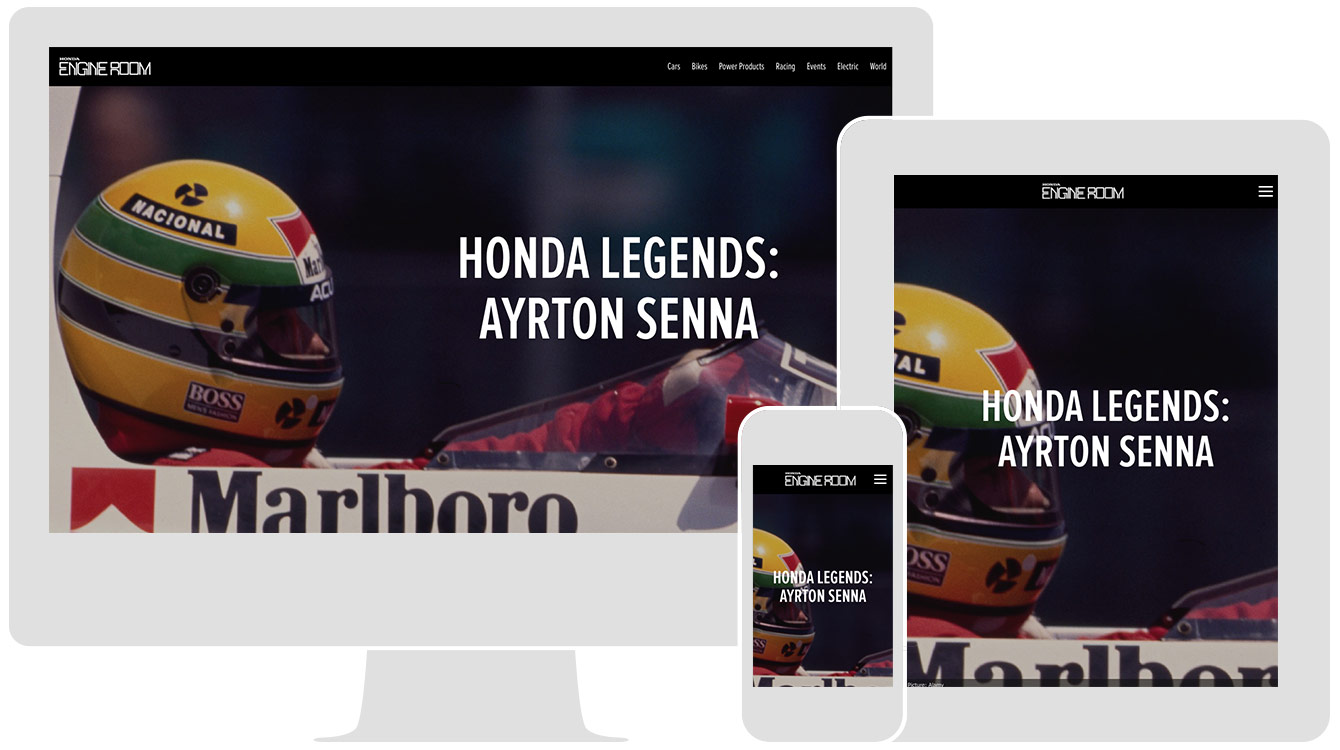 HONDA LEGENDS: AYRTON SENNA, by Honda UK, renders responsively across all devices