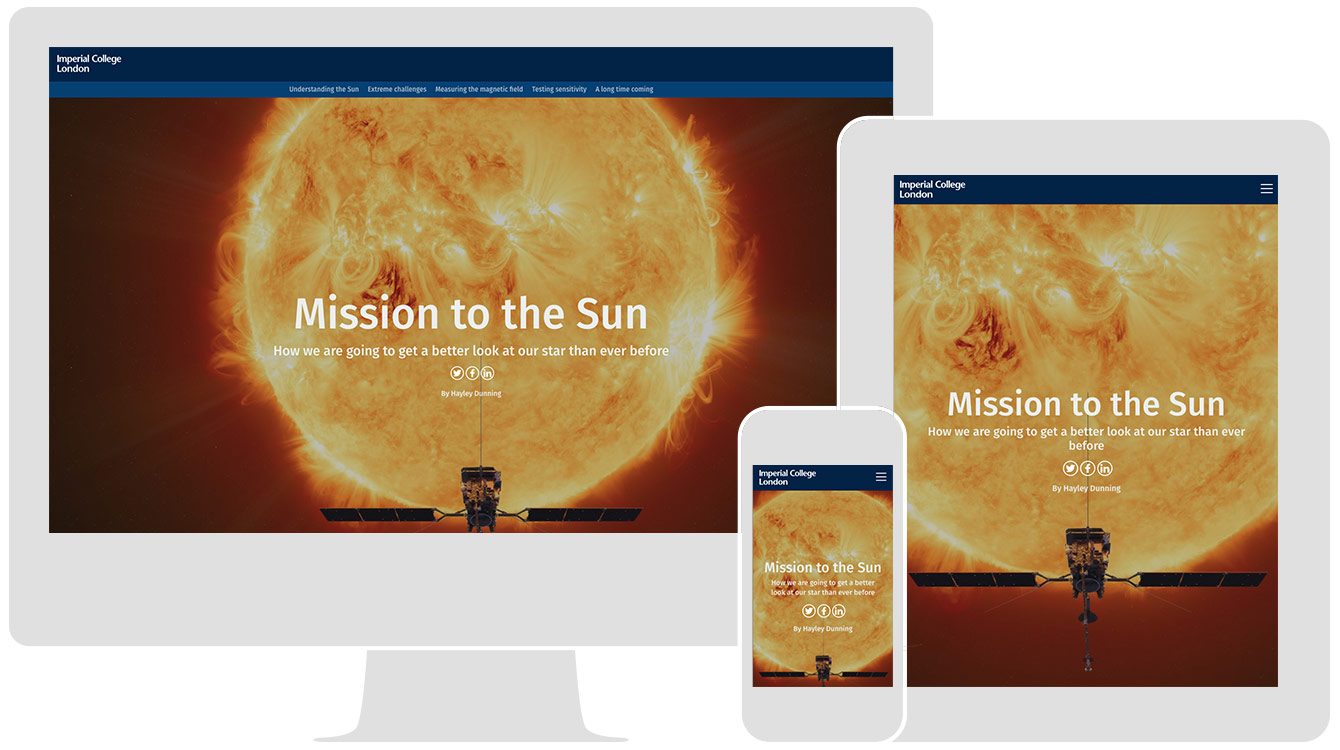 Mission to the Sun, by Imperial College London, renders responsively across all devices