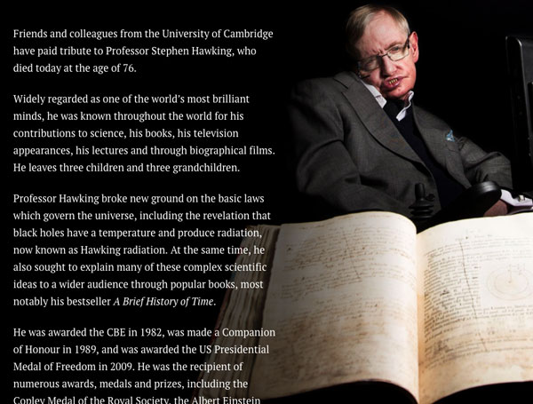 Background Scrollmation section from Professor Stephen Hawking, by the University of Cambridge
